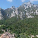 Panorama di una cresta boscosa con falesie bianche